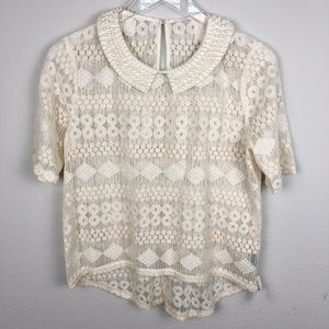 Womans Boutique Pearl Collar Lace Top High Low